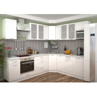Кухня Валерия (белый металлик)
